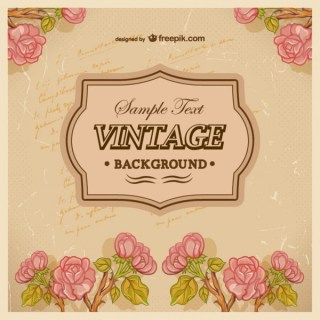 Vintage Background with Roses Free Vector