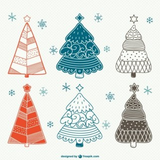 Vintage Christmas Trees Drawings Free Vector