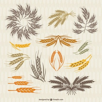 Vintage Collection of Crown and Ears Wheat Free Vector