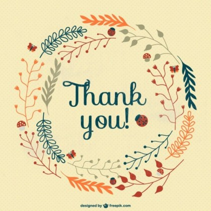 Vintage Thank You Card Free Vector