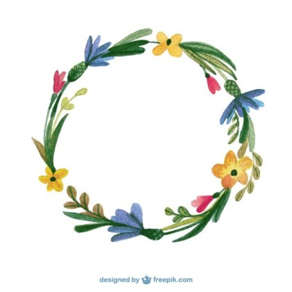 Watercolor Floral Frame Free Vector
