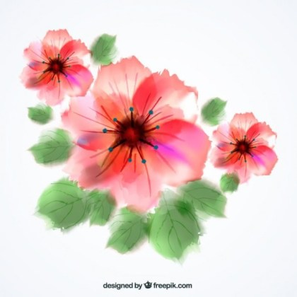 Watercolor Flowers Free Vector