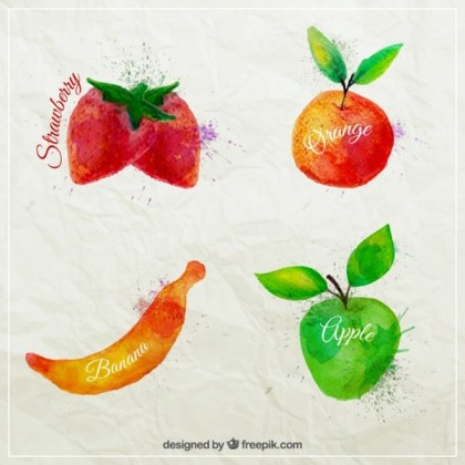 Watercolor Fruits Free Vector