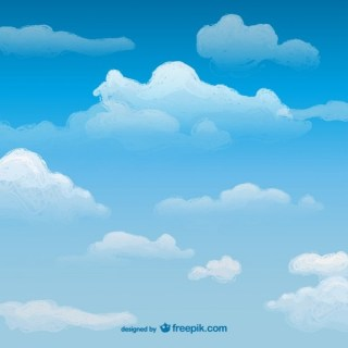 Watercolor Sky with Clouds Free Vector