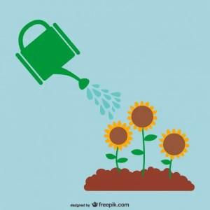 Watering Plants Free Vector