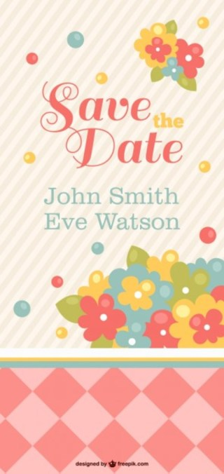 Wedding Card with Flowers Free Vector