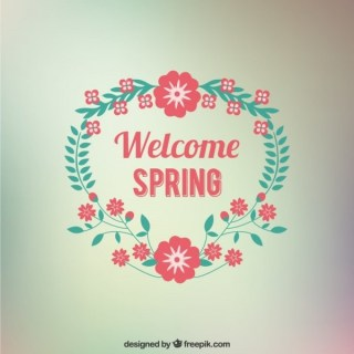 Welcome Spring Floral Card Free Vector