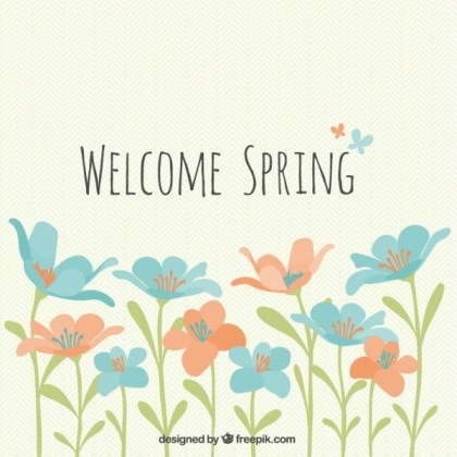 Welcome Spring Flowers Free Vector