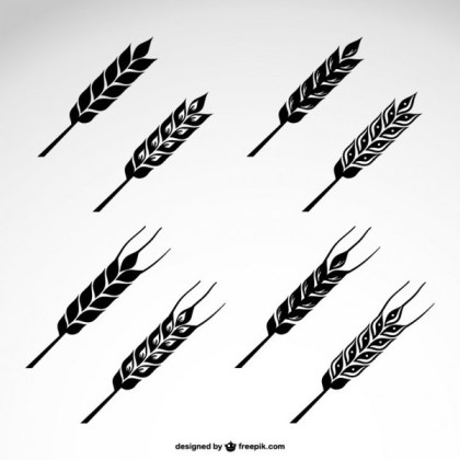 Wheat Icons Set Free Vector
