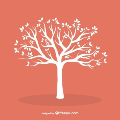 White Tree with Leaves Free Vector