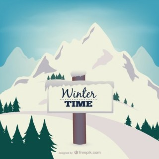 Winter Time with Mountain Free Vector