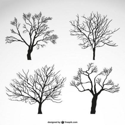 Winter Trees Silhouettes Free Vector