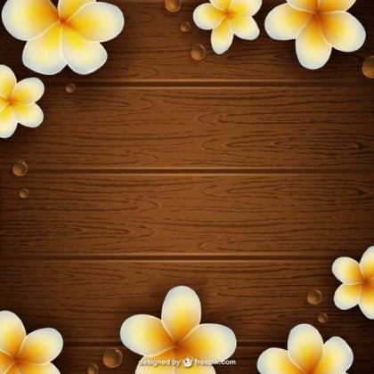 Wooden Texture with Flowers Free Vector