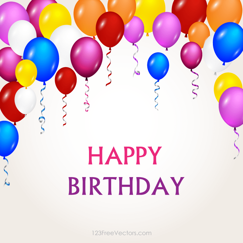 Colorful Happy Birthday Balloons Vector Background Image