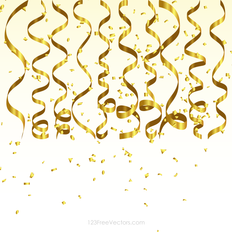 gold streamer and confetti birthday