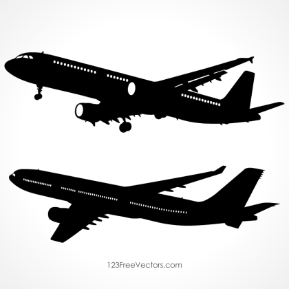 Detailed Airplane Silhouette Vector Images