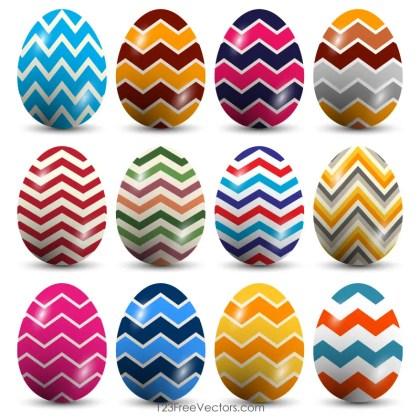 Zig Zag Pattern Easter Eggs Vector