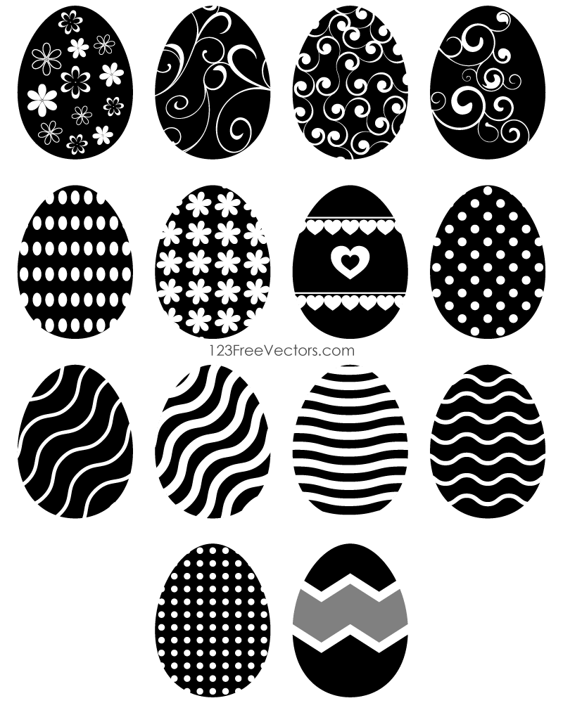 Black and White Easter Egg Clipart