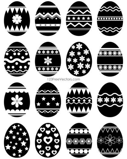 Easter Egg Vector Black and White