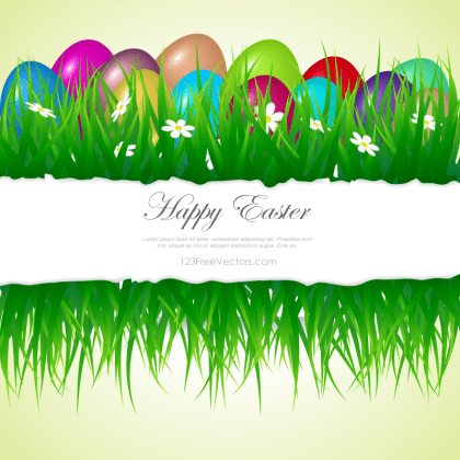 Easter Eggs In Grass Clipart