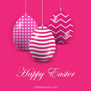 Easter Eggs in Pink Background Vector Free