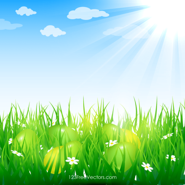 Easter Eggs in Grass Image