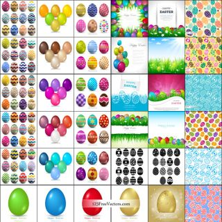Happy Easter Egg Background Vector Pack