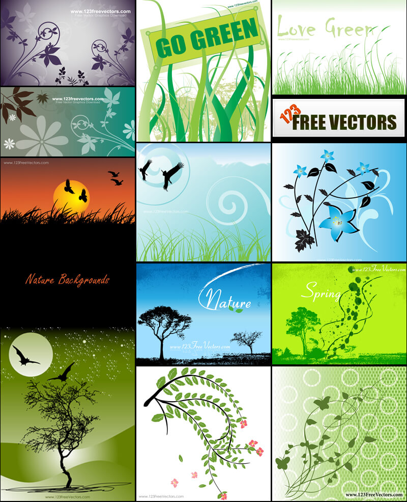 Free Nature Backgrounds Vector Pack