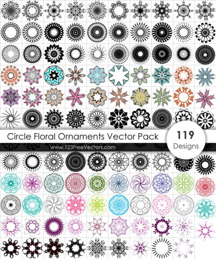 Free Circle Floral Ornaments Vector Pack
