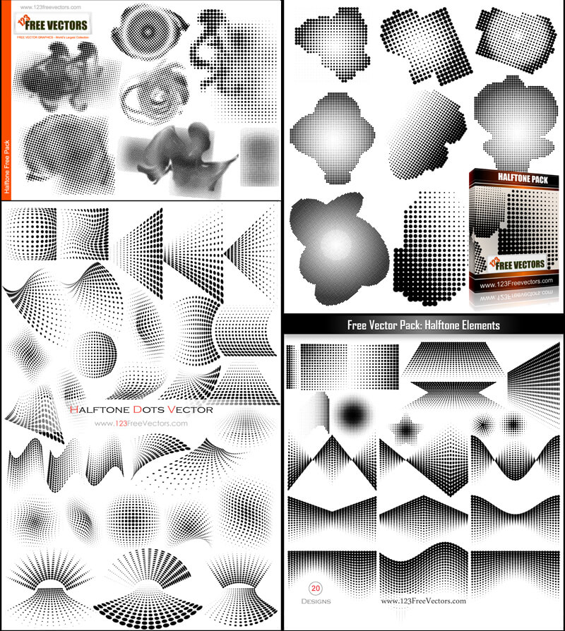 Free Halftone Dots Vector Illustrator Pack