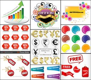 Sale Stickers, Banners, Currency Symbols Vector Pack