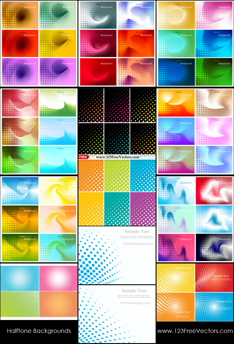 Free Colorful Halftone Background Illustrator Pack