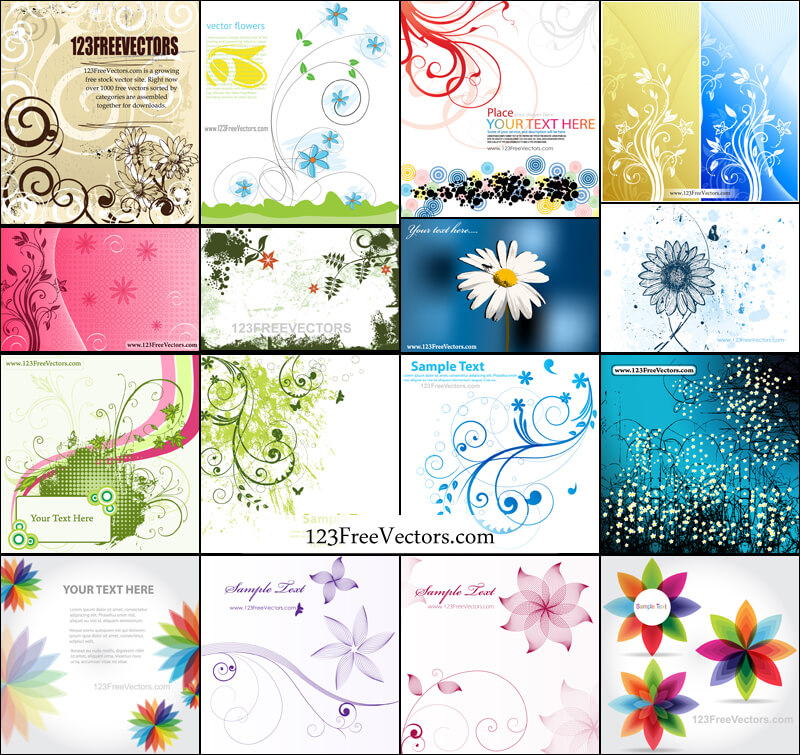 Abstract Flower Background Vector Pack