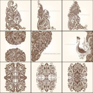 Free Hand Drawn Floral Ornaments Illustrator Pack