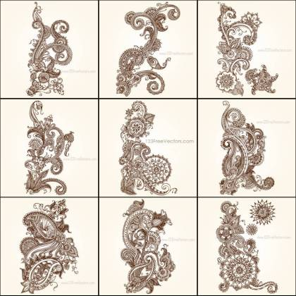 Hand Drawn Paisley Flower Designs Vector Pack
