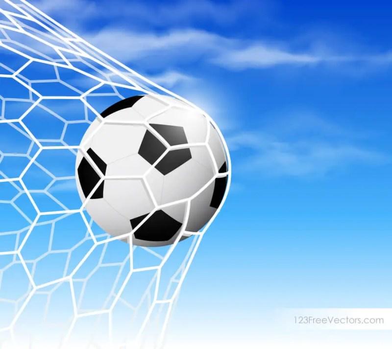Soccer Ball in Goal Net on Blue Sky Background