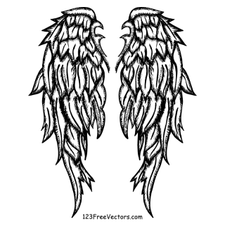 Free Hand Drawn Angel Wings Vector