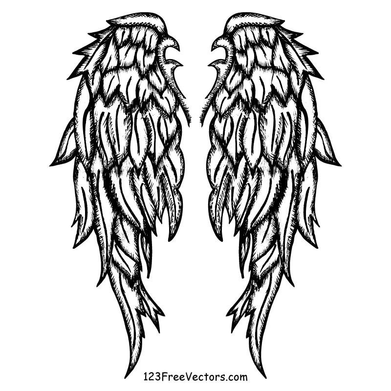 Free Hand Drawn Angel Wings Vector