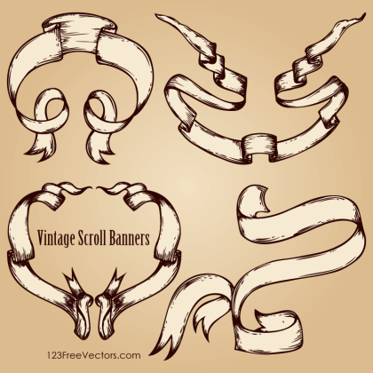 Hand Drawn Scroll Banner Old Style Vector