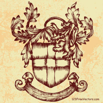 Hand Drawn Sketch Heraldic Shield