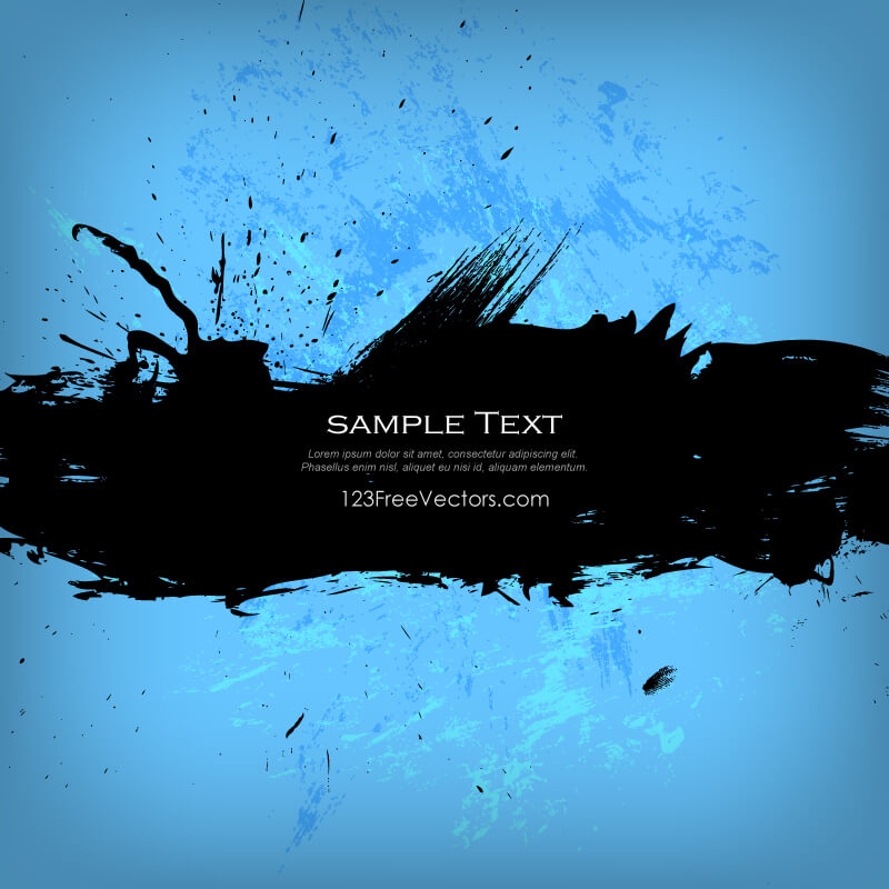 Grunge Banner on Blue Background
