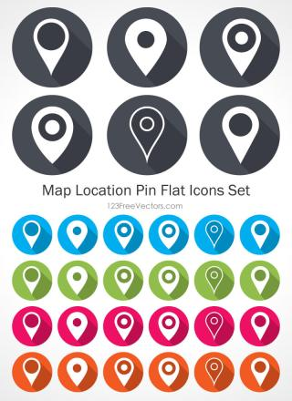 Map Location Pin Flat Icons Set