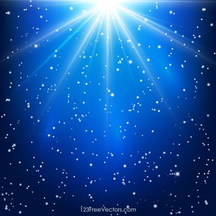 Shining Stars Abstract Blue Background with Light Rays