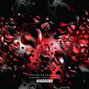 Abstract Red Black Valentine Heart Background