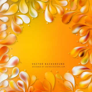 Abstract Orange Floral Ornamental Drops Background