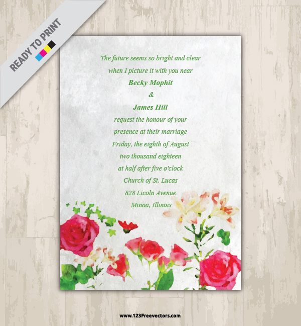 Watercolor floral wedding invitation vector graphics 123freevectors watercolor floral wedding invitation vector graphics stopboris Images
