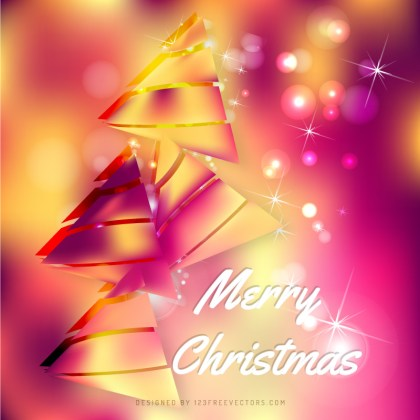 Yellow Pink Christmas Tree Background