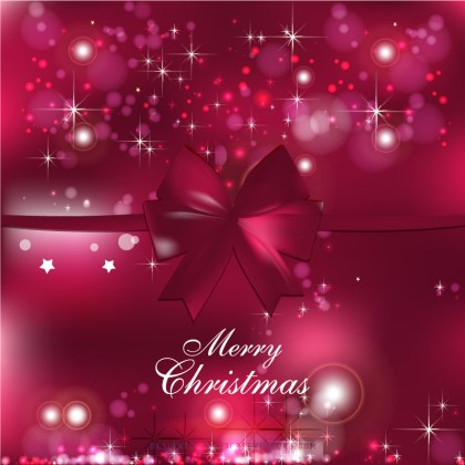 Ruby Pink Christmas Bow Background Design