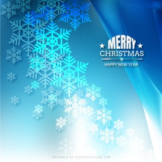 Merry Christmas Snowflakes Blue Background Template