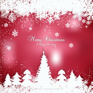 Amaranth Pink Christmas Winter Snow Background with Trees